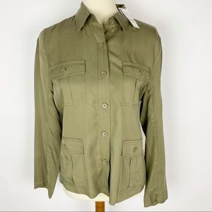 7th Avenue NY&C Army Green Tencel Button Up Top